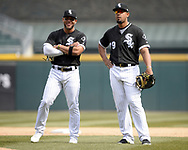 CHICAGO - APRIL 11:  Jose Abreu #79 and Yoan Moncada #10 of the Chicago White Sox look on during a pitching change against the Tampa Bay Rays on April 11, 2018 at Guaranteed Rate Field in Chicago, Illinois.  (Photo by Ron Vesely)  Subject:   Jose Abreu; Yoan Moncada