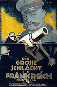 Poster for the Wordl War I film 'Die Grosse Schlacht in Frankreich' Part I  (The Great Battle in France): German gunners round a mortar. Field Marshal Hindenburg a towering in background. Hans Rudi Erdt (1883-1918) German artist