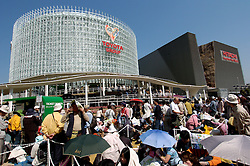 Crowds of visitors queueing to enter the Toyota pavilion at th World Expo 2005 in Aichi near Nagoya Japan