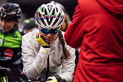 In reflective mood at the start in Tielt - Dwars door Vlaanderen 2016, a 103km road race from Tielt to Waregem, on March 23rd, 2016 in Flanders, Netherlands.