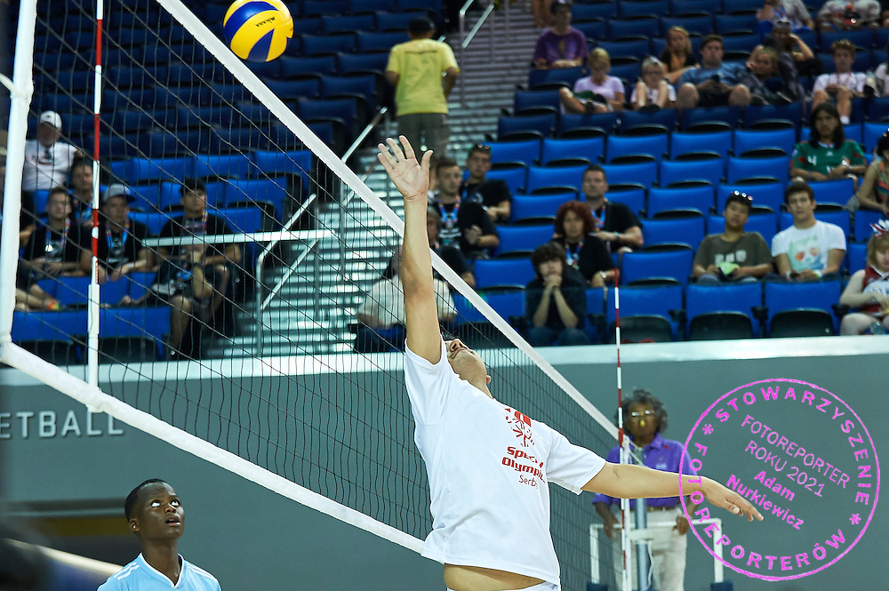 SO Serbia athlete (R) in action while volleyball men match between SO Serbia and SO Botswana during fourth day of the Special Olympics World Games Los Angeles 2015 on July 28, 2015 at Pauley Pavillon UCLA (University of California, Los Angeles) in Los Angeles, USA.<br /> USA, Los Angeles, July 28, 2015<br /> <br /> Picture also available in RAW (NEF) or TIFF format on special request.<br /> <br /> For editorial use only. Any commercial or promotional use requires permission.<br /> <br /> Adam Nurkiewicz declares that he has no rights to the image of people at the photographs of his authorship.<br /> <br /> Mandatory credit:<br /> Photo by &copy; Adam Nurkiewicz / Mediasport