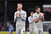 Tom Naylor (4) of Portsmouth applauds the travelling fans at full time during the EFL Sky Bet League 1 match between Bristol Rovers and Portsmouth at the Memorial Stadium, Bristol, England on 26 October 2019.