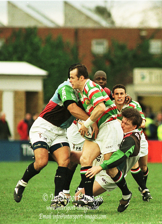 Quins V Leicester 6 Feb 99 Stoop Quins' John Schuster tackles  Leicesters' Ausin Healey, David Pears at the base of the tackle [Mandatory Credit: Peter Spurrier: Intersport Images]