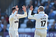 Wicket - Jack Leach of Somerset celebrates taking the wicket of Dane Vilas of Lancashire during the Specsavers County Champ Div 1 match between Somerset County Cricket Club and Lancashire County Cricket Club at the Cooper Associates County Ground, Taunton, United Kingdom on 5 September 2018.