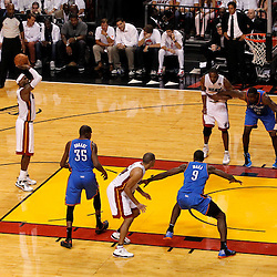 Jun 21, 2012; Miami, FL, USA; Miami Heat small forward LeBron James (6) shoots a free throw against the Oklahoma City Thunder during the second quarter in game five in the 2012 NBA Finals at the American Airlines Arena. Mandatory Credit: Derick E. Hingle-US PRESSWIRE