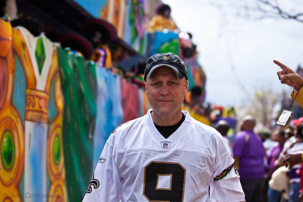 Mayor Mitch Landrieu on Mardi Gras Day during the Zulu Parade