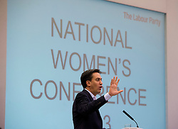 © London News Pictures. 21/09/2013.  Brighton, UK. Labour Party leader Ed Miliband speaking at the Labour Party National Womens Conference in Brighton  a day ahead of the start of the Labour Party COnference in Brighton. Photo credit: Ben Cawthra/LNP
