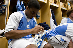 05 April 2008: North Carolina Tar Heels defenseman Milton Lyles (49) before playing the Virginia Cavaliers in Chapel Hill, NC.