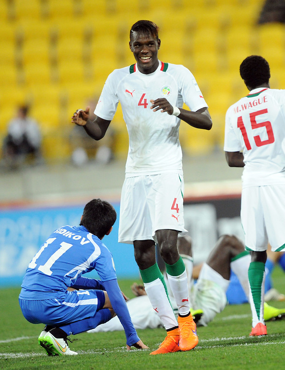Mouhameth Sane of Senegal celebrates after the win over Uzbekistan in the Under 20 soccer World Cup match, Wellington, New Zealand, Sunday, June 14, 2015. Credit:SNPA / Ross Setford