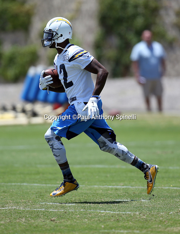 San Diego Chargers wide receiver and kick returner Jacoby Jones (12) returns a kick during the San Diego Chargers Spring 2015 NFL minicamp practice on Wednesday, June 17, 2015 in San Diego. (©Paul Anthony Spinelli)