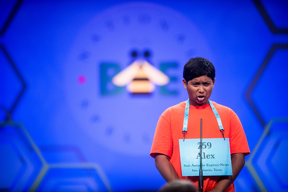 Alex Iyer, 14, from San Antonio, Texas, participates in the finals of the 2017 Scripps National Spelling Bee on Thursday, June 1, 2017 at the Gaylord National Resort and Convention Center at National Harbor in Oxon Hill, Md.      Photo by Pete Marovich/UPI