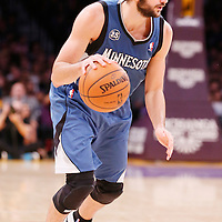 10 November 2013: Minnesota Timberwolves point guard Ricky Rubio (9) dribbles during the Minnesota Timberwolves 113-90 victory over the Los Angeles Lakers at the Staples Center, Los Angeles, California, USA.