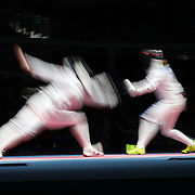 Opening Ceremony 2016  Fencing -  Injeong Choi, (left), Republic of Korea, in action against  Rossella Fiamingo, Italy, during the Women's Épée Individual Quarterfinal at Carioca Arena 3 on August 6, 2016 in Rio de Janeiro, Brazil. (Photo by Tim Clayton/Corbis via Getty Images)