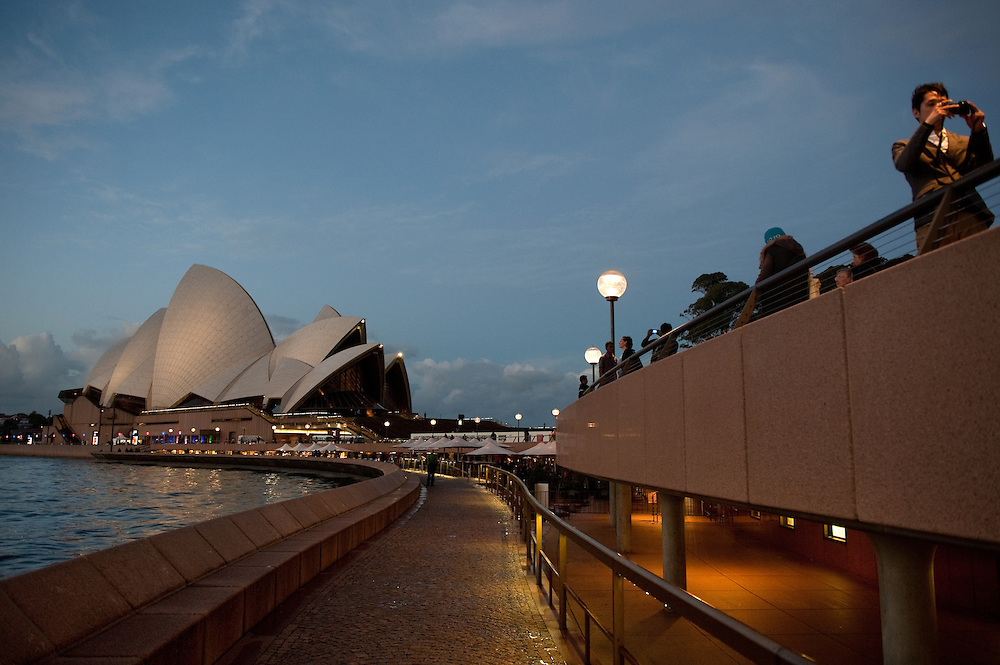 Sydney Opera House at dusk, Sydney, Australia.