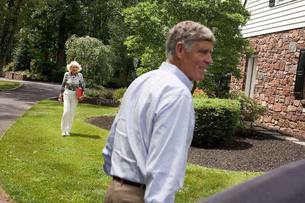 9 July, 2008. Doylestow, PA. Jim Grundy, 54, and his mother Patricia at his home in Dowylestow, PA. Jim Grundy is the chief executor of Grundy Worldwide, an insurance company for collectible cars. His father Jim Sr. Jr. started the business in 1947 and wrote the first antique car insurance policy in 1949. Jim Grundy has been in the business for 28 years and assumed major interest and the presidency 19 years ago. &quot;I own the best pre World War I cars ever manufactured&quot;, Mr. Grundy says. <br /> <br /> &copy;2008 Gianni Cipriano for The Wall Street Journal<br /> cell. +1 646 465 2168 (USA)<br /> cell. +1 328 567 7923 (Italy)<br /> gianni@giannicipriano.com<br /> www.giannicipriano.com