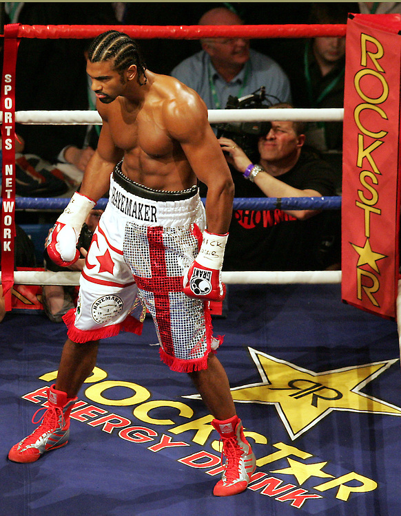 David Haye prepares to come out for round one.  WBA and WBC champion David Haye knocked out WBO champion Enzo Maccarinelli in two rounds on Saturday night at the O2 Arena in London. 8th March 2008.