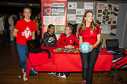 Pictured: Loti Turkington, Persia Aitken-Edwards, Evia Fothergill and Sam Drummond try to persuade new student to join Team Napiar netball team<br /> <br /> Police Scotland today delivered student safety advice during freshers' weeks around the country as part of the Student Safety Campaign. Inspector David Happs was on hand in Edinburgh to speak to new students.<br /> <br /> Ger Harley: 1 September 2017