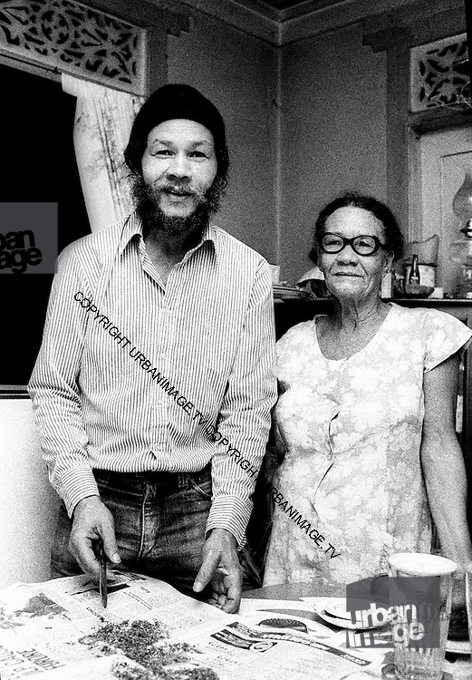 Rico Rodriguez and mother in Jamaica 1980