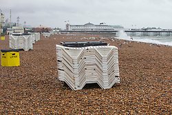 © Licensed to London News Pictures. 29/07/2016. Brighton, UK.A totally deserted beach in Brighton and Hove as rain and powerful gusts of wind are hitting the seaside resort after a month of hot and sunny weather. Photo credit: Hugo Michiels/LNP