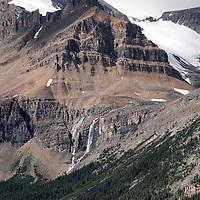 Glacier fed waterfall high above Peyto Lake, Banff National Park, Alberta, Canada