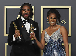 "February 9, 2020, Hollywood, California, USA: Director Matthew A. Cherry and producer Karen Rupert Toliver, winners of the Animated Short Film award for ""Hair Love,"" pose in the press room of the 92nd Academy Awards on Sunday February 9, 2020 at the Dolby Theater in Hollywood, California. BURT HARRIS/BNS/PI (Credit Image: © Prensa Internacional via ZUMA Wire)"