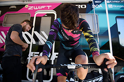 Barbara Guarischi warms up for Stage 5 of the Giro Rosa - a 12.7 km individual time trial, starting and finishing in Sant'Elpido A Mare on July 4, 2017, in Fermo, Italy. (Photo by Sean Robinson/Velofocus.com)
