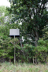 22 July 2012:   Shot near Lake Bloomington in McLean County of Illinois, a deer hunters tree stand is ready for the upcoming season.