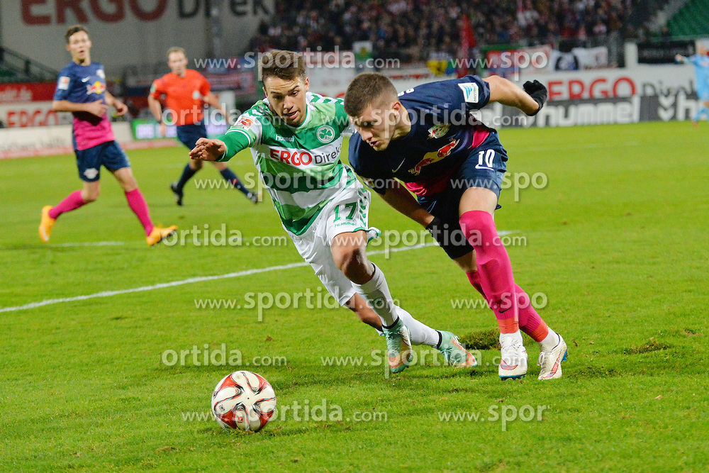 12.12.2014, Trolli Arena, Fuerth, GER, 2. FBL, SpVgg Greuther Fuerth vs RB Leipzig, 17. Runde, im Bild Ante Rebic (RB Leipzig / rechts) im Zweikampf mit Thomas Pledl (Greuther Fuerth / links) // during the 2nd German Bundesliga 17th round match between SpVgg Greuther Fuerth and RB Leipzig at the Trolli Arena in Fuerth, Germany on 2014/12/12. EXPA Pictures © 2014, PhotoCredit: EXPA/ Eibner-Pressefoto/ Merz<br /> <br /> *****ATTENTION - OUT of GER*****