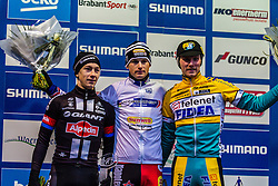 Overall Podium: 1st Kevin Pauwels (BEL), 2nd Lars van der Haar (NED) & 3rd Corne van Kessel (NED), Men Elite, Cyclo-cross World Cup Hoogerheide, The Netherlands, 25 January 2015, Photo by Thomas van Bracht / PelotonPhotos.com