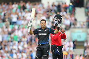 New Zealand Ross Taylor celebrates his 100  during the Royal London One Day International match between England and New Zealand at the Oval, London, United Kingdom on 12 June 2015. Photo by Phil Duncan.