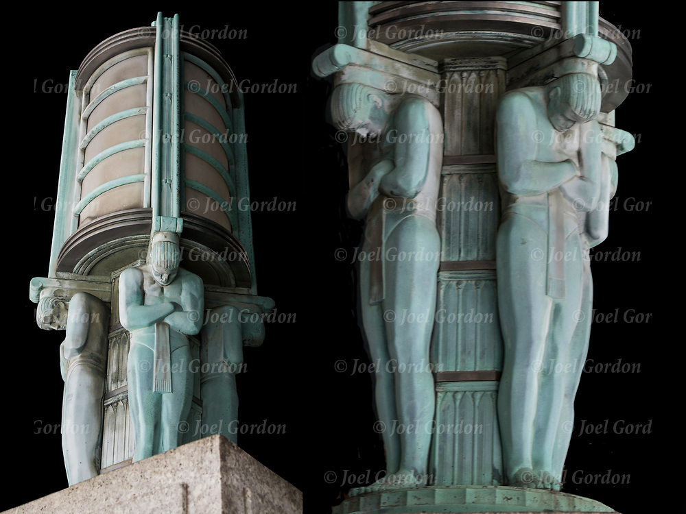 Two views from different angles of Art Deco light base with male figures holding up outdoor light fixture in front entrance of building on Centre Street in lower Manhattan.