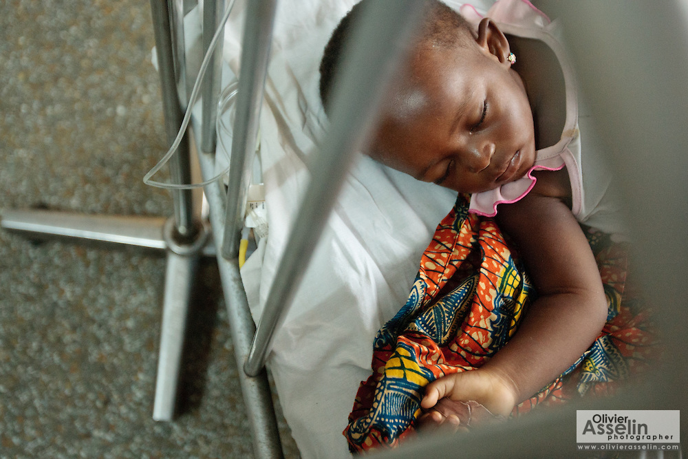 Ghana: 25 April 2012, Zeinab, 21 months old, who suffers from malaria and diarrhea, lies at the Princess Marie Louise Children's hospital in Accra. The GAVI Alliance is a public-private partnership that brings together developing country and donor governments, WHO, UNICEF, the World Bank, the vaccine industry in both industrialised and developing countries, research and technical agencies, civil society, the Bill & Melinda Gates Foundation and other private philanthropists.  Set up in 2000 as the Global Alliance for Vaccines and Immunisation, GAVI's mission is to save children's lives and protect people's health by increasing access to immunisation in the world's poorest countries.