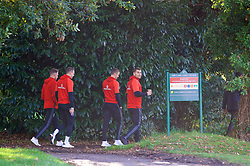 CARDIFF, WALES - Monday, October 9, 2017: Wales' Sam Vokes during a pre-match walk at the Vale Resort ahead of the 2018 FIFA World Cup Qualifying Group D match between Wales and Republic of Ireland. (Pic by David Rawcliffe/Propaganda)
