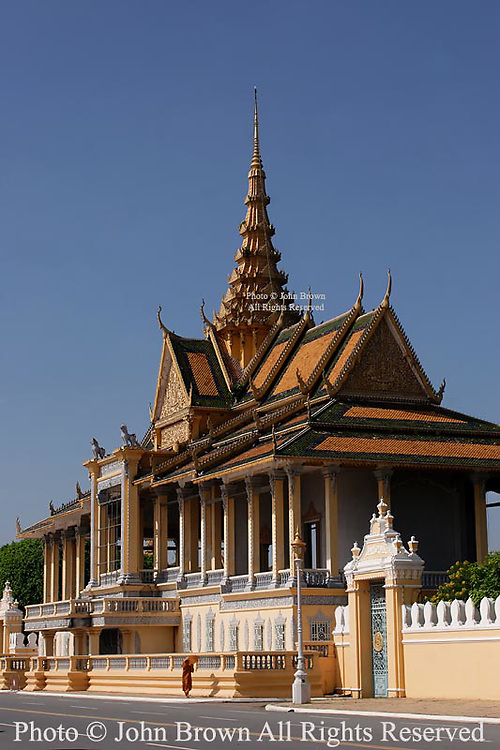 A building on the grounds of The Royal Palace stands in the morning sun in Phnom Penh, Cambodia.