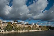 France. Paris. 1st district Art bridge on the Seine river and the musee du Louvre/ le pont des arts sur la Seine