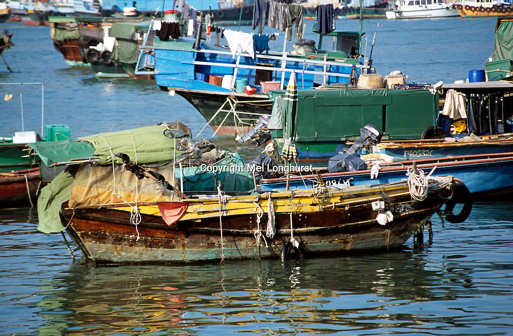 Old boat in harbour, Cheung Chau Island, Hong Kong, China