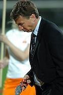 n/z.: Trener Dan Petrescu (Wisla Krakow) podczas dekoracji Mistrza Polski 2006 po meczu ligowym Legia Warszawa (biale-czarne) - Wisla Krakow (czerwone) , I liga polska , 30 kolejka sezon 2005/2006 , pilka nozna , Polska , Warszawa , 13-05-2006 , fot.: Adam Nurkiewicz / mediasport..Trainer coach Dan Petrescu (Wisla Krakow) during medal ceremony after Polish league first division soccer match in Warsaw. May 13, 2006 ; Legia Warsaw (white-black) - Wisla Cracow (red) ; first division , 30 round season 2005/2006 , football , Poland , Warszawa ( Photo by Adam Nurkiewicz / mediasport )