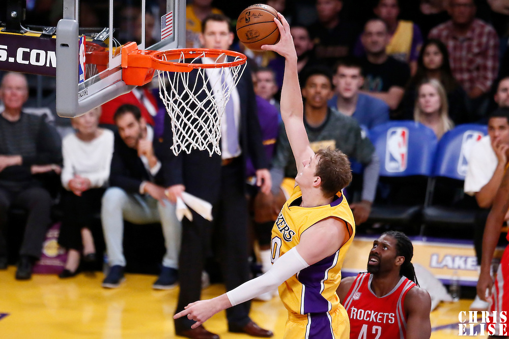 26 October 2016: Los Angeles Lakers center Timofey Mozgov (20) dunks the ball during the Los Angeles Lakers 120-114 victory over the Houston Rockets, at the Staples Center, Los Angeles, California, USA.