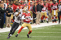 3 February 2013: Cornerback (29) Chris Culliver of the San Francisco 49ers breaks up a pass to (82) Torrey Smith of the Baltimore Ravens during the first half of the Ravens 34-31 victory over the 49ers in Superbowl XLVII at the Mercedes-Benz Superdome in New Orleans, LA.