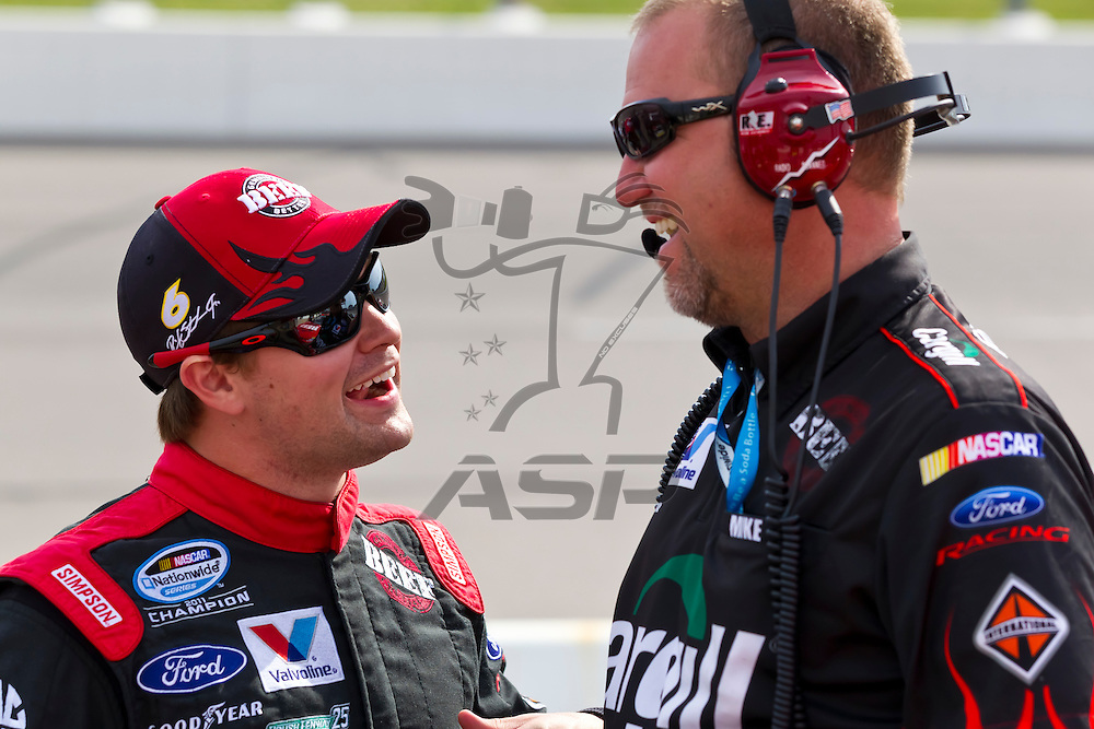 NEWTON, IA - MAY 19, 2012:  Ricky Stenhouse, Jr. (6) prepares to qualify for the Pioneer Hi-Bred 250 at the Iowa Speedway in Newton, IA.