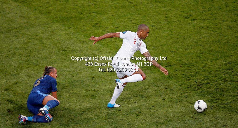 11/06/2012 European football championships. France v England.<br /> Glen Johnson goes past Mexes.<br /> Photo: Mark Leech.