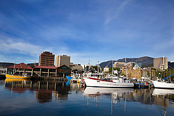 Boats anchored along Victoria Dock, Hobart, Tasmania, Australia