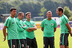 29.06.2015, Ernst-Lehner-Stadion, Augsburg, GER, 1. FBL, FC Augsburg, Trainigsauftakt, Laktat-Test, im Bild das komplette Trainerteam, ( vr:) Thomas Barth (Co-Trainer FC Augsburg), Markus Weinzierl (Trainer FC Augsburg), Wolfgang Beller (Co-Trainer FC Augsburg), Tobias Zellner (Co-Trainer FC Augsburg), Zdenko Miletic (Torwarttrainer FC Augsburg), // during a traning session of German 1st Bundeliga Club FC Augsburg at the Ernst-Lehner-Stadion in Augsburg, Germany on 2015/06/29. EXPA Pictures © 2015, PhotoCredit: EXPA/ Eibner-Pressefoto/ Krieger<br /> <br /> *****ATTENTION - OUT of GER*****