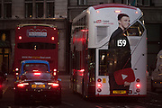 Advertising for YouTube, with the large presence of social media  vlogger celebrity Caspar, appearing on the rear of a London bus on 1st December 2016, in Piccadilly Circus, London England.