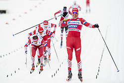 March 9, 2019 - Oslo, NORWAY - 190309 Aleksandr Bolsjunov celebrates in front of Maxim Vylegzjanin and Andrej Larkov of Russia after the in men's 50 km classic technique during the FIS Cross-Country World Cup on March 9, 2019 in Oslo..Photo: Fredrik Varfjell / BILDBYRÃ…N / kod FV / 150211. (Credit Image: © Fredrik Varfjell/Bildbyran via ZUMA Press)