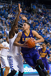 LSU forward Ben Simmons drives the lane on Kentucky forward Alex Poythress in the second half. <br /> <br /> The University of Kentucky hosted the LSU Tigers, Saturday, March 05, 2016 at Rupp Arena in Lexington .