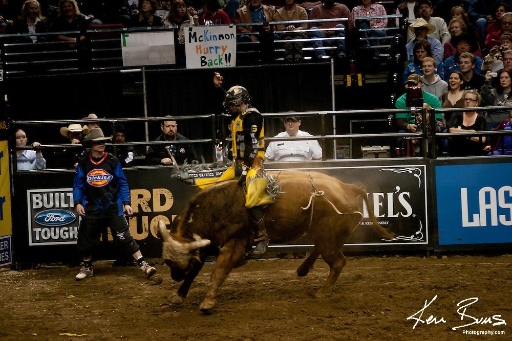 Cody Nance Riding a Bull in Portland, Oregon