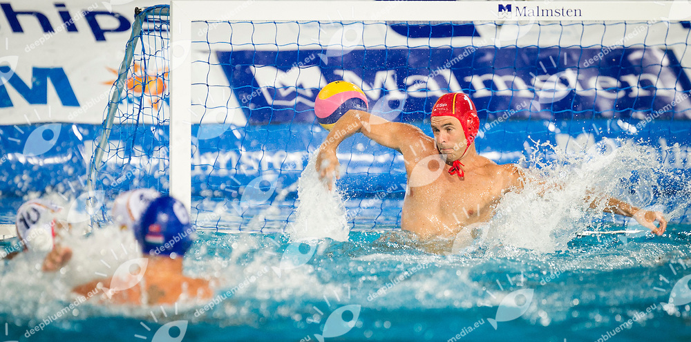 1 AGUILAR Vicente Inaki SPA<br /> Spain (White) Vs Hungary (Blue)<br /> LEN European Water Polo Championships 2014<br /> Alfred Hajos -Tamas Szechy Swimming Complex<br /> Margitsziget - Margaret Island<br /> Day01 - July 14 <br /> Photo Giorgio Scala/Inside/Deepbluemedia