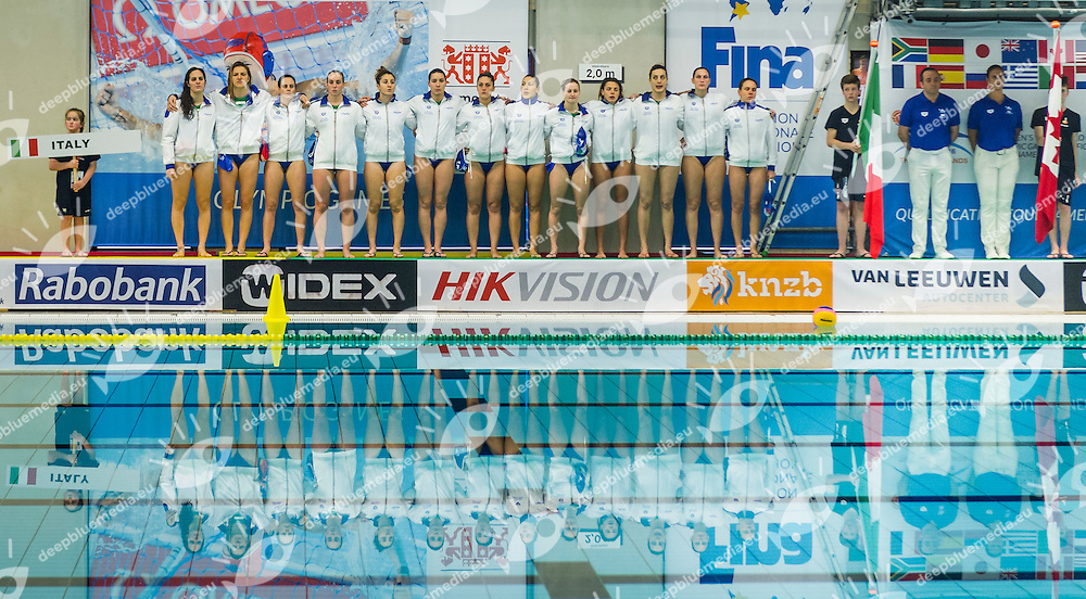 FINA Women's Water polo Olympic Games Qualifications Tournament 2016<br /> Canada CAN (White) Vs Italy ITA (Blue)<br /> Team Italy<br /> Gouda, Netherlands - Swimming pool Groenhovenbad<br /> Day6 26-03-2016<br /> Photo P. Mesiano/Insidefoto/Deepbluemedia