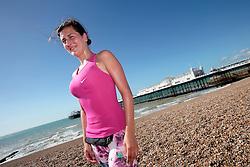 UK ENGLAND BRIGHTON 8SEP16 - Lady Carolina Gomez (32) of Bogota, Colombia jogs at the Brighton beach front.<br /> <br /> jre/Photo by Jiri Rezac<br /> <br /> &copy; Jiri Rezac 2016